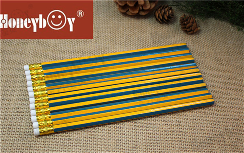 Best Selling Stripe Paint Pencil with White Eraser And Golden Ferrule Chinese Factory