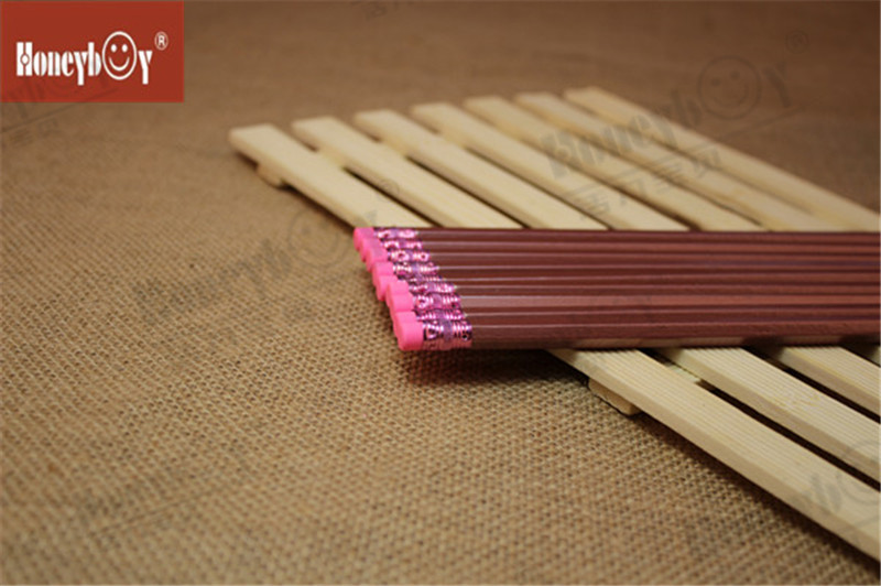 Fancy Metallic Paint Hex Pencil with Pink Eraser
