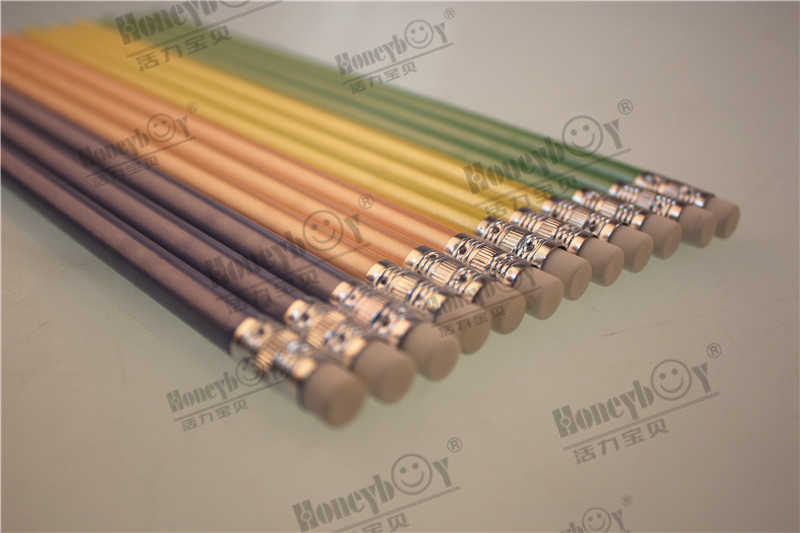 Competitive Price PVC Drum Packing Pearly Paint Pencil with Eraser