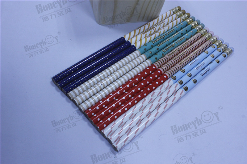 Customized Dipped Heat Transfer Pencil with Multiple Patterns