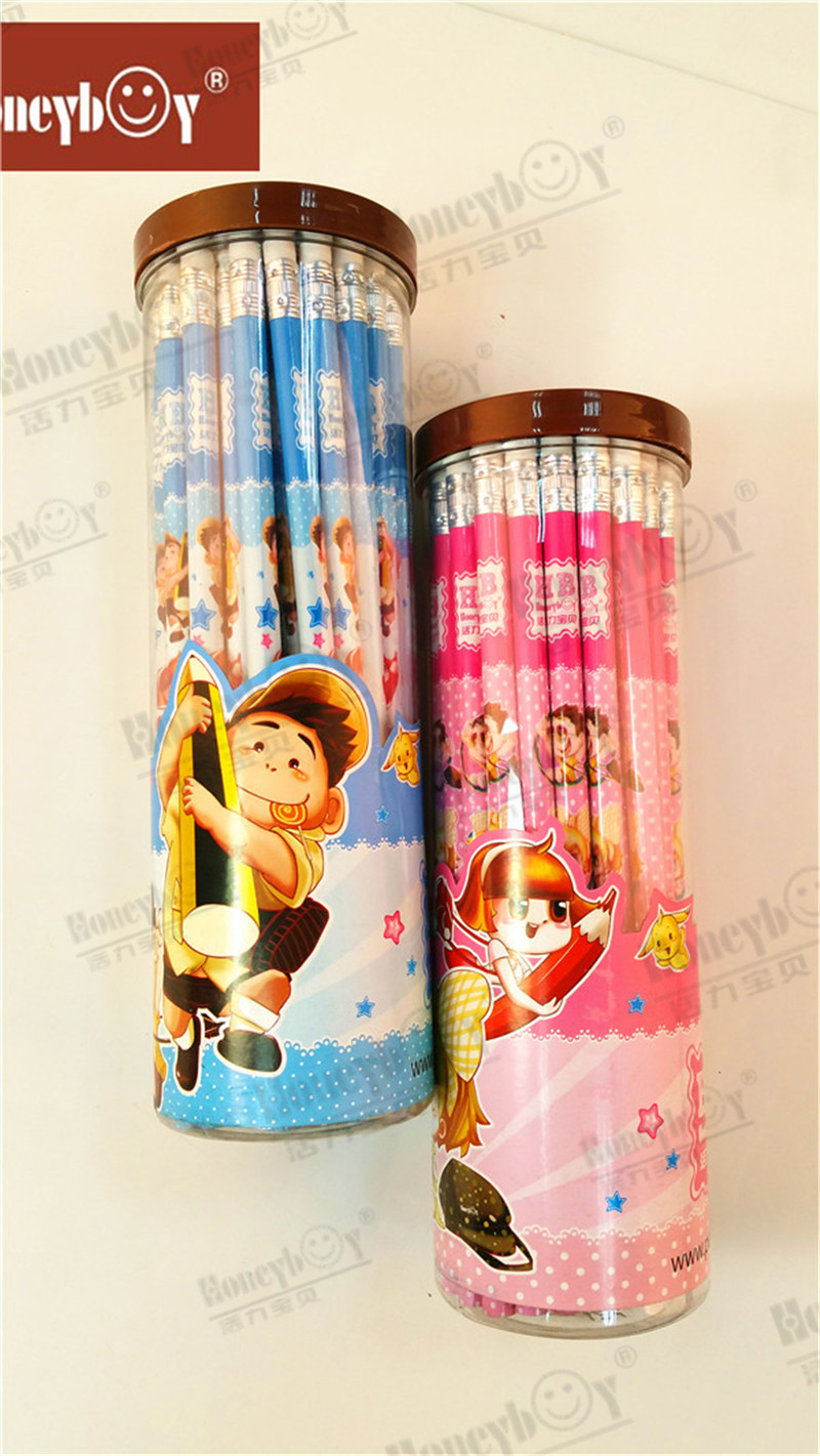 Cute Carton Shrink Film Pencil with Carton PVC Drum Packing